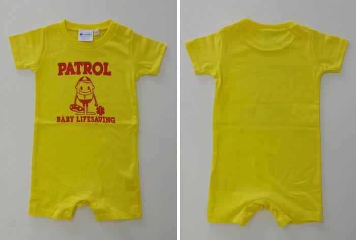 黄色 ベビーロンパース GUARD ガード ライフガード ライフセービング ウォーターパトロール 海 湘南 ベビー服 カバーオール こども 男の子 女の子 半袖 出産祝い 0歳児 新生児 お祝い 赤ちゃん かわいい