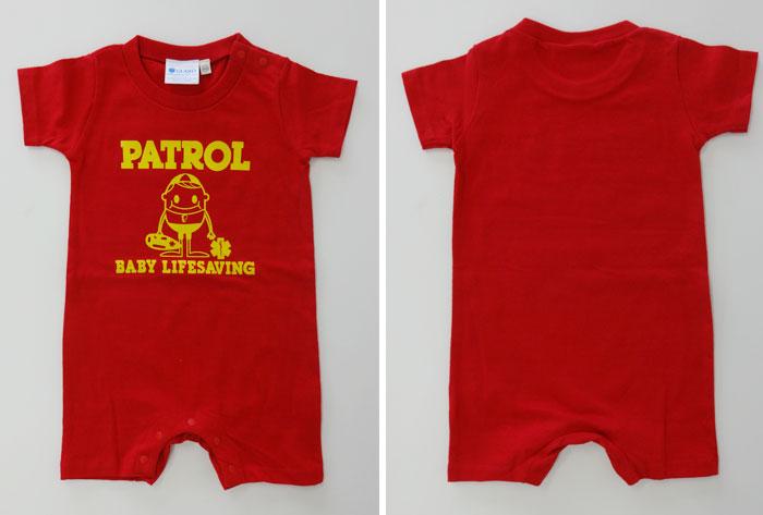 赤ベビーロンパース GUARD ガード ライフガード ライフセービング ウォーターパトロール 海 湘南 ベビー服 カバーオール こども 男の子 女の子 半袖 出産祝い 0歳児 新生児 お祝い 赤ちゃん かわいい