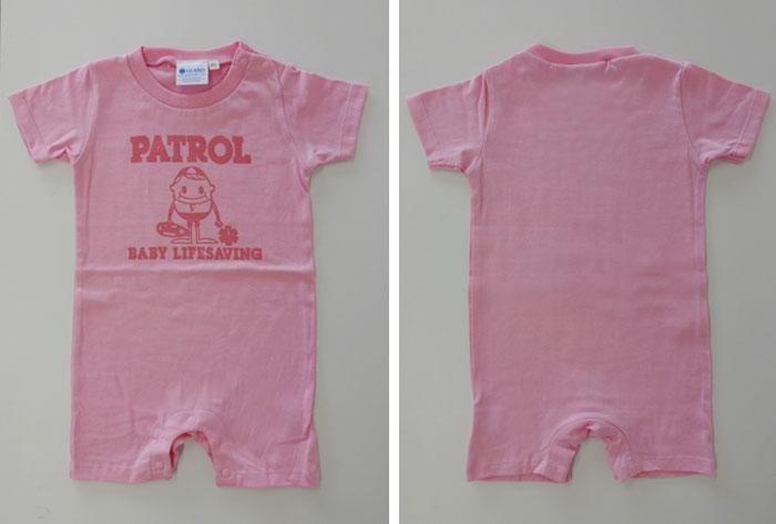 ピンクベビーロンパース GUARD ガード ライフガード ライフセービング ウォーターパトロール 海 湘南 ベビー服 カバーオール こども 男の子 女の子 半袖 出産祝い 0歳児 新生児 お祝い 赤ちゃん かわいい