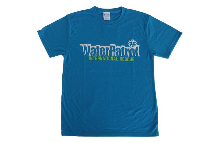 ターコイズTシャツフロントデザイン、ガード(海での監視業務)やウォーターパトロールにぴったり。