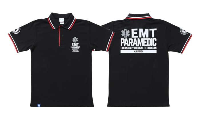 EMT PARAMEDIC ドライカノコ ライン入りポロシャツ