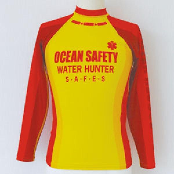 画像1: ラッシュガード 長袖 超撥水 [ocean safety] (イエロー、レッド2色展開) (1)