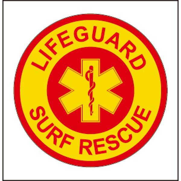 画像1: 【ネコポス対象商品】 12サーフレスキューステッカー[LIFEGUARD SURF RESCUE]レッド×イエロー (1)