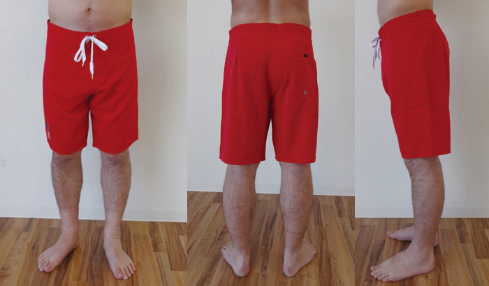 サーフパンツ着用イメージ下半身の図左から前身後身横身