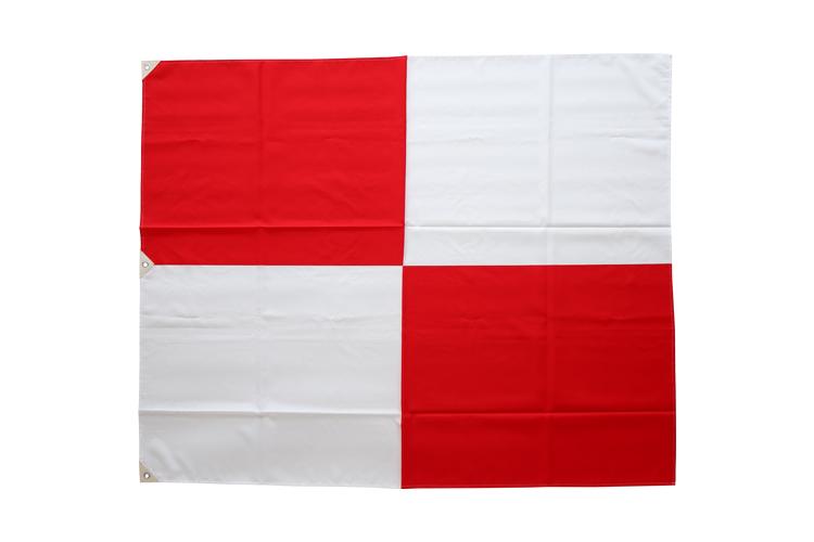 津波フラッグ/津波等伝達旗を両手で広げている色は紅白の格子模様