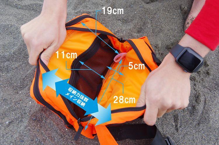 ウエストバッグには180度開く収納スペースに加えて「メイン収納」もあります。